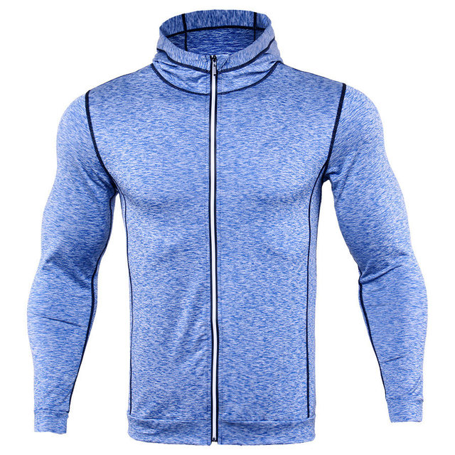 New Rashgard Hooded Sport Shirt Men Long Sleeve Zipper Running T Shirt Men Hoody Compression Shirt Gym Tshirt Fitness Top 1