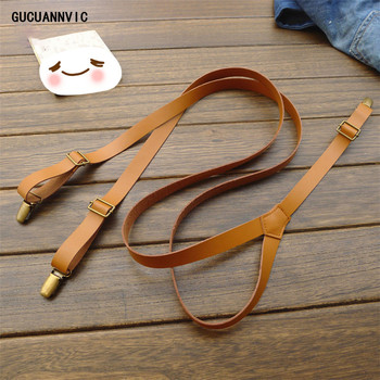 British high-quality NEW leather suspenders men and women braces three folders european American retro suspensorio Width 2cm