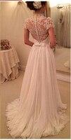 Принцесса Кейт изысканные кружева пляжные свадебное платье развертки Поезд v образным вырезом короткий рукав шифон на заказ платье vestido de