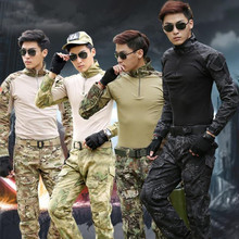 Mens Military Combat Shirt & Pants Black Long Sleeve Tactical Frog Suit  Army Military Airsoft Uniform Painball Clothes kryptek mandrake frog fighting suit police frog uniforms army trainning uniform set one long sleeve shirt and one tactical pant