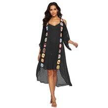 Plus size women beach dress swimsuit beach cover ups v-neck crochet flower tunics for beach swimwear women bikini cover up