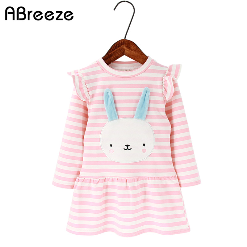 2018 New spring autumn children dresses fashion rabbit pattern A-line dresses for girls 2-8Y cotton stripe girls clothes dresses fashion easy matched stripe pattern shirt