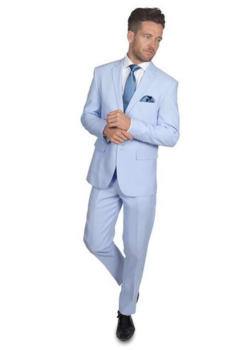 Menu0027s wedding party suits groom tuxedo light blue fashion formal suit  handsome elegant formal occasion suits (jacket+pants+tie)-in Suits from  Menu0027s Clothing ...