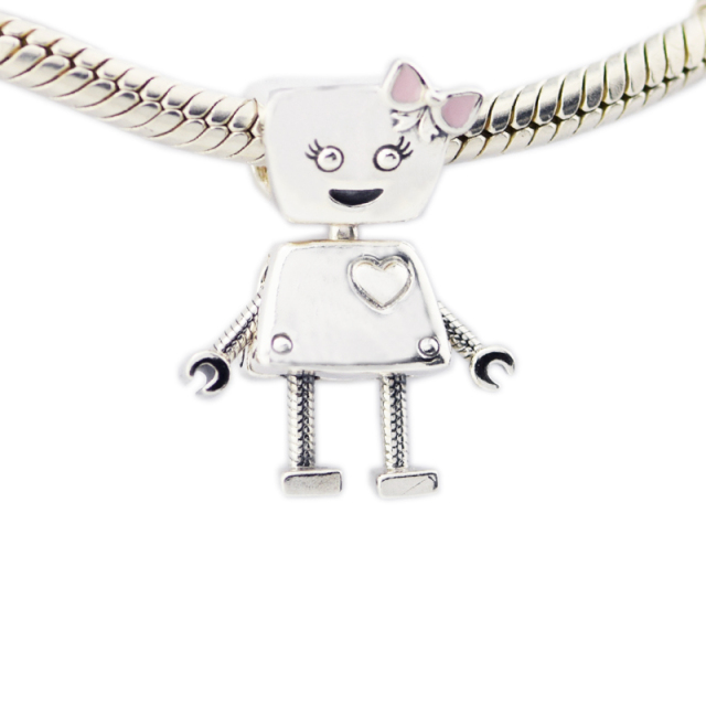 Original New 925 Sterling Silver Jewelry Bella Bot Charm, Pink Enamel Charms Beads Fits Bracelets For Jewelry Making