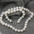 Fashion 9-10mm natural white freshwater cultured pearl nearround beads necklace chain for women choker diy jewelry 18inch B3236