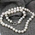 Moda 9-10mm blanco natural de agua dulce cultivado perla nearround perlas collar de gargantilla de cadena para las mujeres diy joyería 18 pulgadas B3236