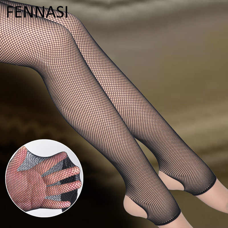 b2f12b09c2c40 FENNASI Women's Stirrup Fishnet Tights Sexy Open Toe Black Mesh Pantyhose  Female Erotic Mesh Stockings Thigh