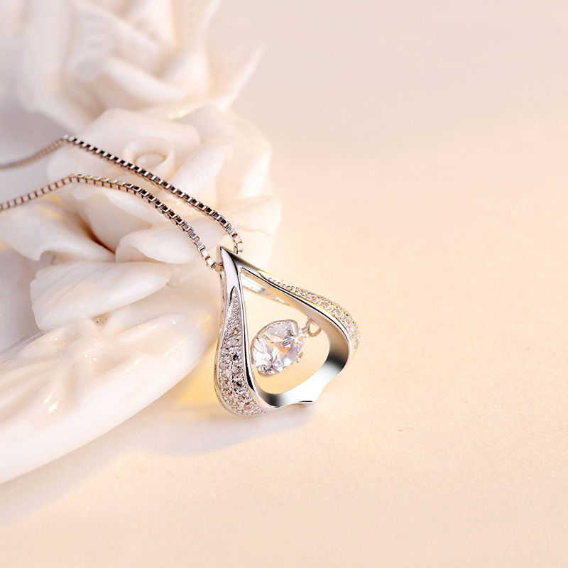 S925 Necklace Jewelry Smart Zircon Drops Pendant Dancing 2018 Sale Real Heart Solitaire Women Trendy Druzy Buda Chakra