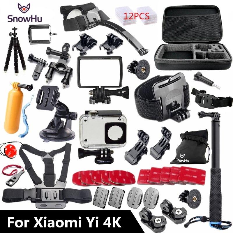 SnowHu for Xiaomi Yi 4K Accessories set 45M Diving Sport Waterproof Box monopod mount for xiaomi for Yi 4K Action Camera  Y27 waterproof aqua box водонепроницаемый кейс для xiaomi yi action 4k black