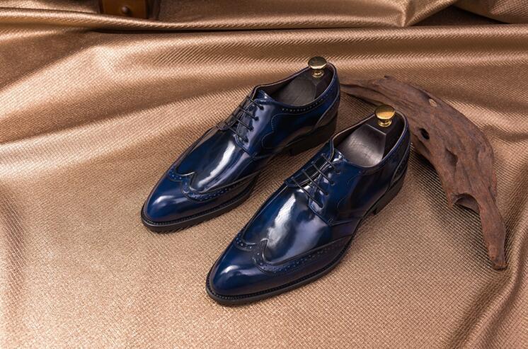 Casual azul Hecho Oxford Genuino Goodyear Para Vestido Mano Señaló Zapatos Boda A Hombres Atan De Los Tallada Smart Real Rojo Brogues Toes Charol Arriba PqaBp