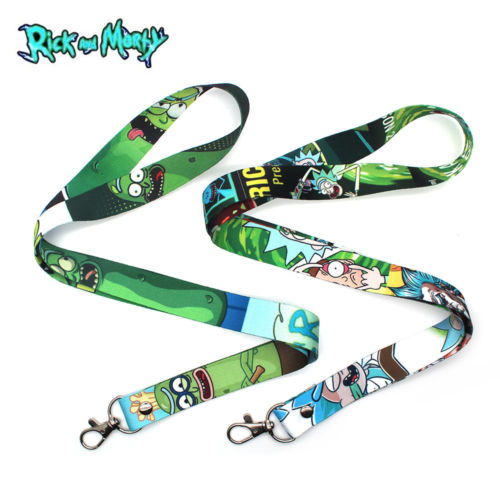 2Pcs/Set Rick and Morty Pickle Rick Satin Cell Phone Rope Chain Camera Strap Clip Cord Charm Lariat Lanyard Keychain Gift New