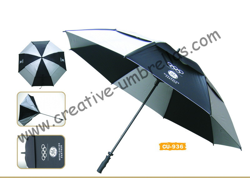 Free shipping by sea,14mm fiberglass shaft and ribs,golf umbrella,windproof,anti-thunderbolt,anti-static,nylon silver coating