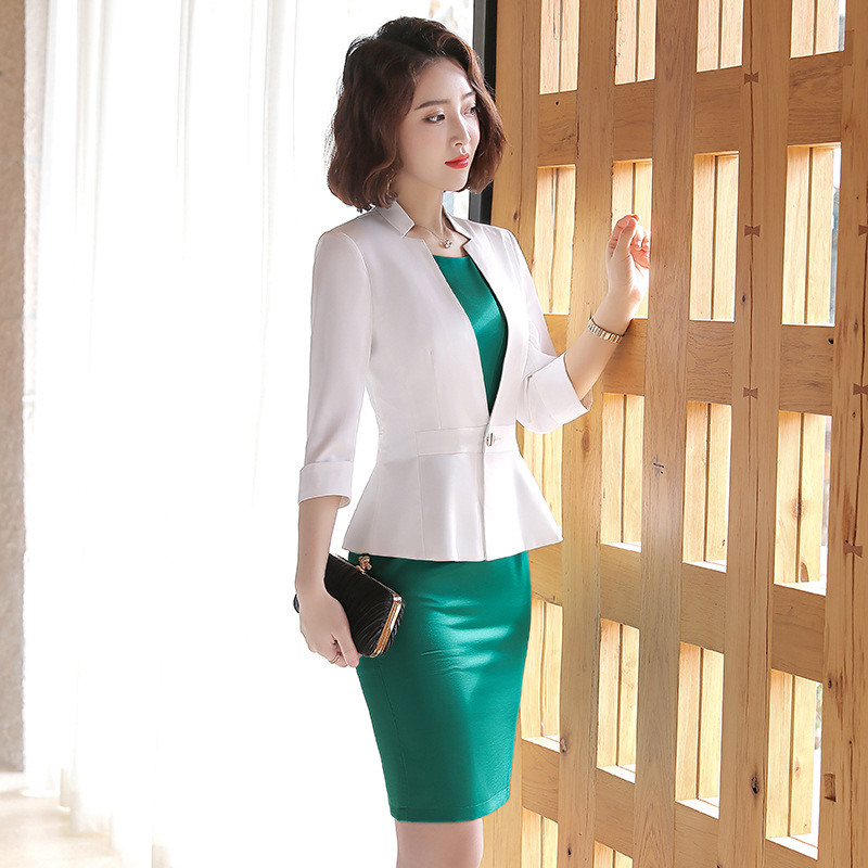 IZICFLY New Formal Ladies Suits With Dress Elegant Vestidos Formales Oficina Business Blazer Dress Suit Plus Size Costume Femme