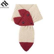 Модный милый зимний шарф для детей; теплый шарф для девочек и мальчиков; плотный мягкий детский шарф с милым рисунком лисы; теплая шаль унисекс
