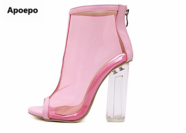 Rome style women pink shoes PVC peep toe ankle boots Transparent high heels boots women fashion mixed colors short boots ladies western femme clear heel transparent boots plastic women ankle booties peep toe high heels shoes summer short boots new fashion