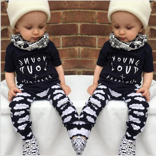 2016 Spring Baby Baby Boys Clothing Sets Cotton letter T-shirt top+Pants 2pcs Newborn Baby Girls Clothing Sets for 1-3years girl