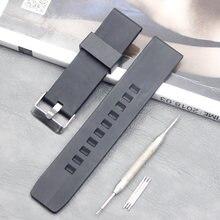 Аксессуары для часов мужской черный силиконовый ремешок 24 мм