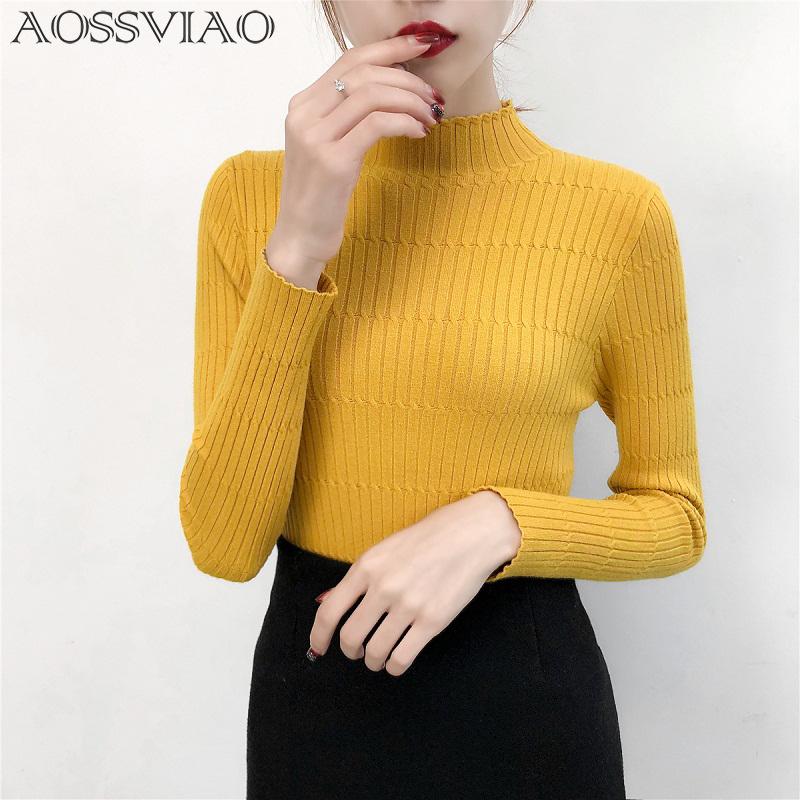 Turtleneck Knitted Sweater Female Simple Pullovers Ladies Top Fashion Sweet Women Sweaters Korean Jumper Stripe Black Yellow
