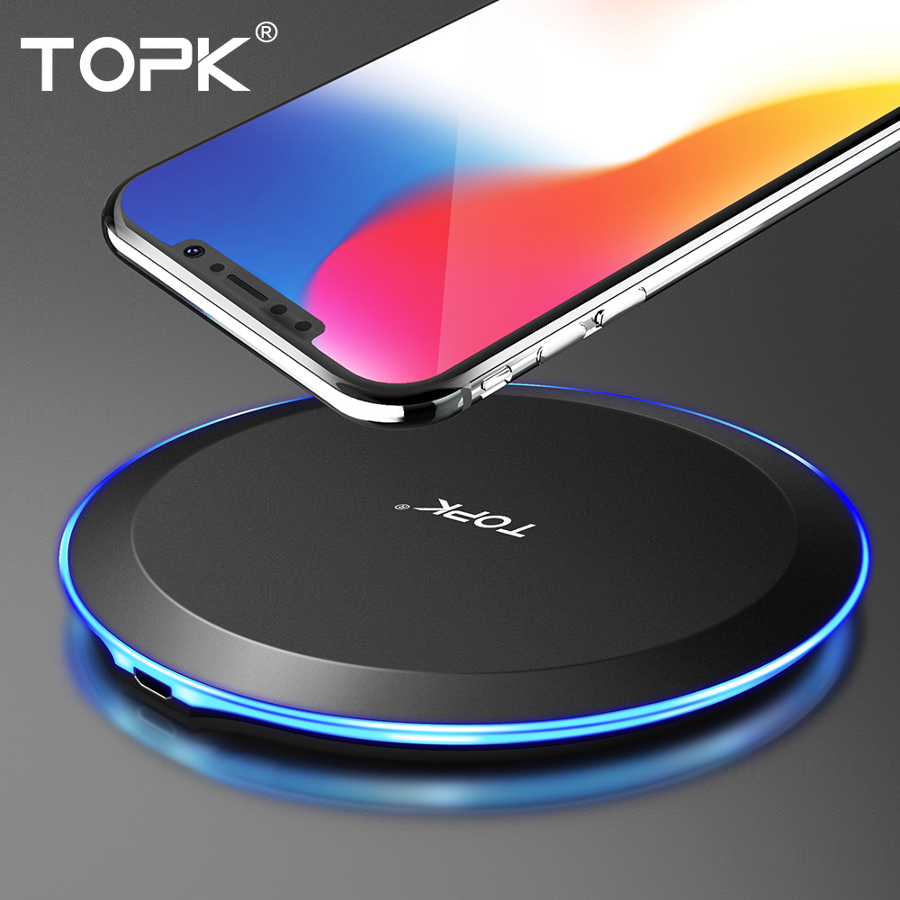 TOPK Wireless-Charger Samsung S9 Note 9 iPhone Xs 1 for Max S8 8-Plus 10W