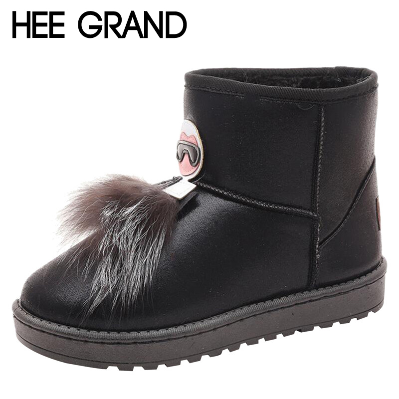 HEE GRAND Faux Fur Decoration Winter Snow Boots Ankle Boots Bright Vamp Women Fashion Keeping Warm Winter Boots XWX6415
