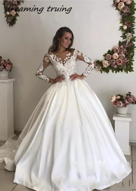 2019 Vintage Elegant Satin Wedding Dress Turkey Ball Gown Long Sleeve O Neck Lace Bridal Wedding Party Dresses Robe De Mariee Wedding Dresses Aliexpress,Wedding Short Royal Blue Bridesmaid Dresses