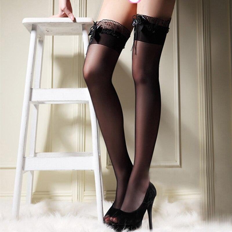 Sexy women long stockings hosiery lady lace thigh high over knee socks nightclub