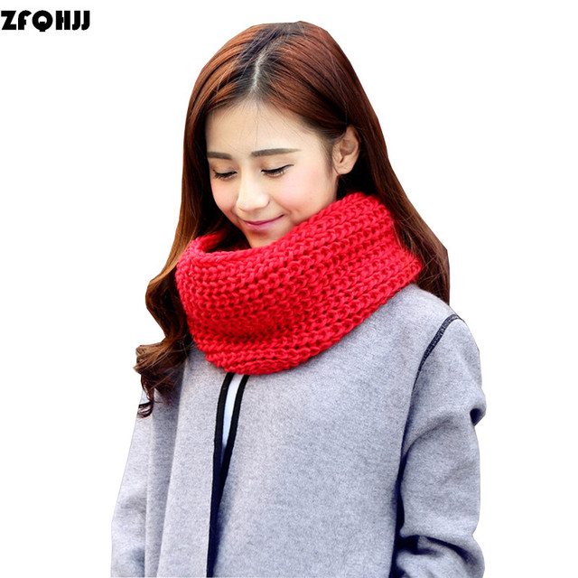 6f8aaf160b ZFQHJJ mujeres bufandas de punto Unisex invierno cálido cuello Collar de  punto infinito anillo bufanda lazo