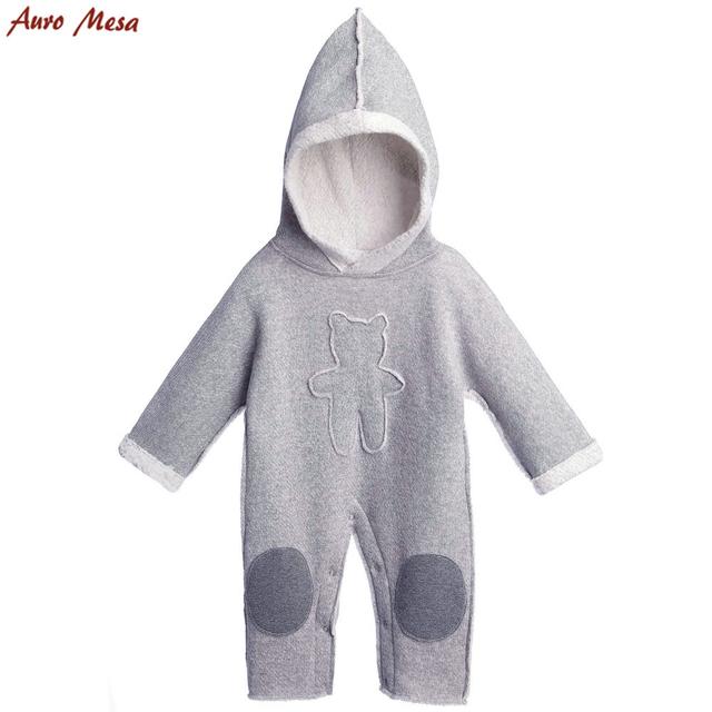 Auro mesa novo 2017 primavera romper do bebê de veludo bebê recém-nascido roupas bebes com capuz roupa do bebê urso cinzento