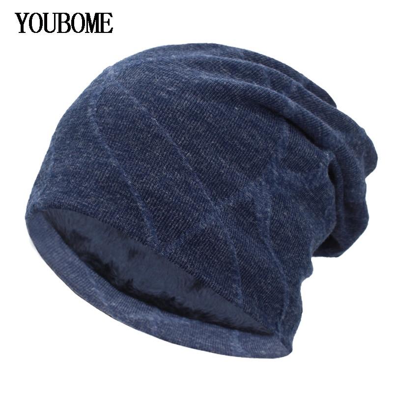 YOUBOME Winter Hats For Men Knitted Hat Women   Skullies     Beanies   Mask Brand Winter   Beanie   Gorros Bonnet Warm Baggy Wool Hat Caps