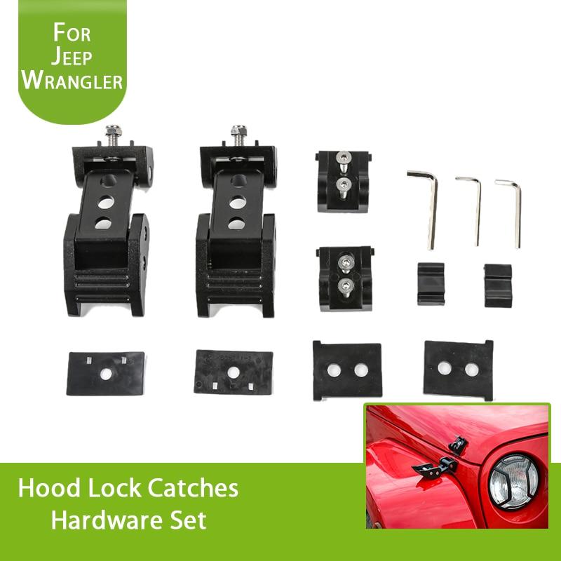1Set Black Stainless Steel Hood Latches Hood Lock Catch Kit for 2007-2018 Jeep Wrangler JK/JKU 2 pcs black locking hood catch latches kit for jeep wrangler jk 2007 2008 2009 2010 2011 2012 2013 2014 2015 pair free shipping