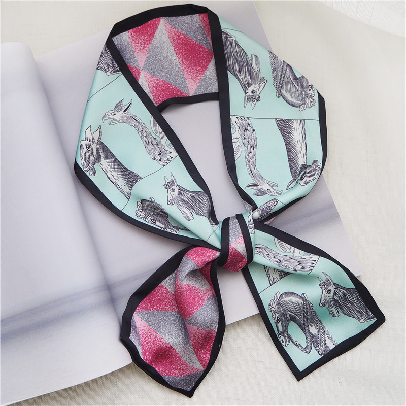 Skinny   Scarf   2019 New Brand Silk   Scarf   For Women Fashionable Print giraffe Head   Scarf   Long Handle Bag   Scarves     Wraps   Wholesale