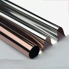30*200cm One way Perspective Brown Silver Solar Mirror Self Adhesive Window Film Sticker Anti-UV Tint Office Building Home Decor film tint solar gold silver mirror effect for window building vlt 15% 1 52mx30m 5ftx100ft