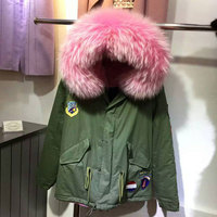 Army green fur parka for ladies winter wear,pink thick fur lined down fur jacket short style DHL free shipping