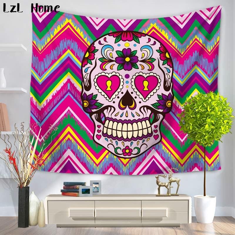 eb4099420b20 LzL Home 1 ps indio Mandalas tapiz cráneo exótico viento impresión pared  colgante playa tiro ...