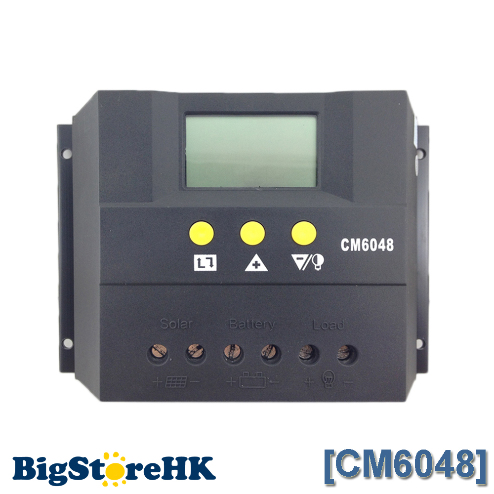 60A Solar Charge Controller 48V LCD Display PV Panel Battery Charge Controller Solar System Home Indoor Use CM6048