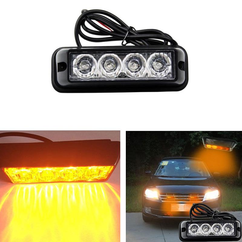 4 LED Car Truck Emergency Beacon Light Bar Hazard Strobe Warning Yellow Amber Car External Lights Warning Lights