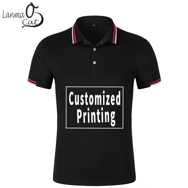 Lanmaocat Mens Summer   Polo   Shirt Clothes Customized with Own Logo Man Short Sleeve Photo Print Cotton Lapel Shirt Free Shipping