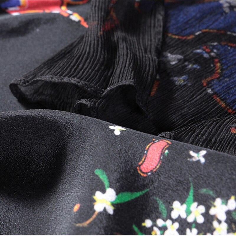 Lunga Seta Il Protezione Estate Stampato Spiaggia Femminile Formato Vestito Del Nero Camicia Casual Doppia Più Black Abito Di Sole Altezza Women'dresses 3xl A 7HCwqwt