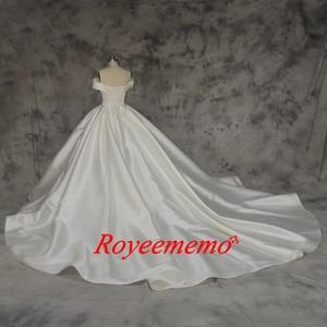 Image 5 - Robe de mariée en satin, nouvelle conception, robe de mariée, épaules dénudées et manches courtes sur mesure, prix usine gros, nouveau design