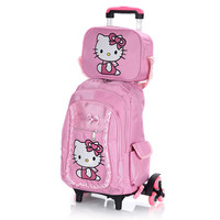 Hello Kitty Children School Bags Set Mochilas Kids Backpacks With Six Wheels Trolley Luggage For Girls