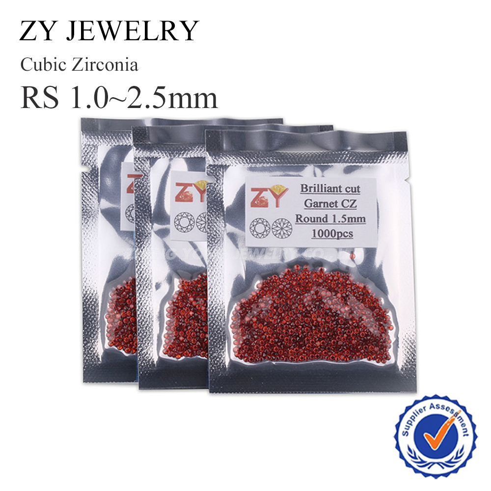 Hot Sale 1mm-3mm China Manufaturer Round Brilliant Cut Garnet Synthetic Cubic Zirconia for Jewelry Making