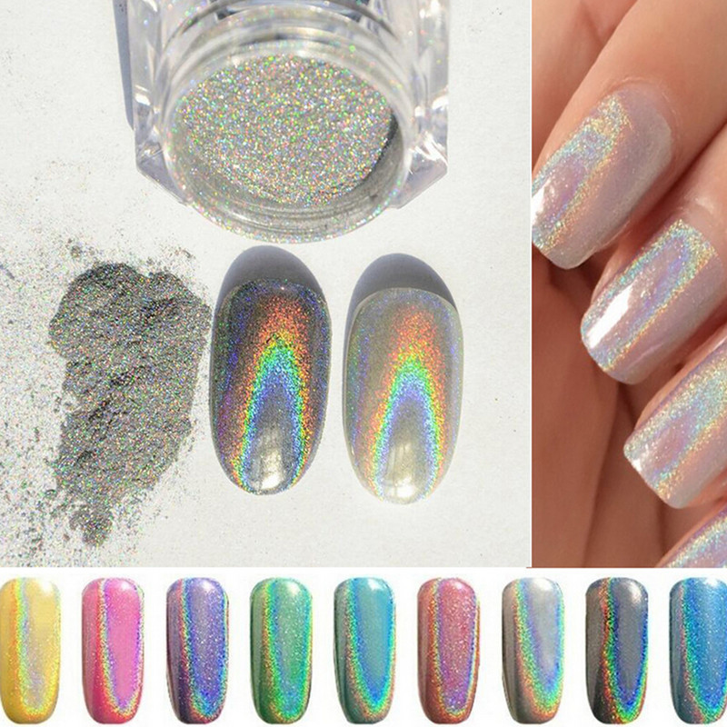 New 1g box Shinning Mirror Powder font b Nail b font Gel Glitter Polish Silver Chrome