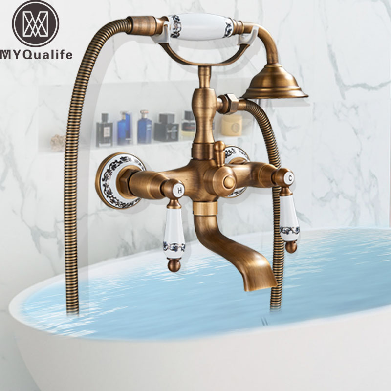 Luxury Bathtub Faucet Dual Handle Handheld Bath Shower Mixer Tap with Hand Shower Wall Mount Swivel Spout Tub Sink Mixer Faucet oil rubbed bronze dual handle bathroom bathtub sink mixer faucet wall mounted with hand shower swivel tub spout hot and cold wat