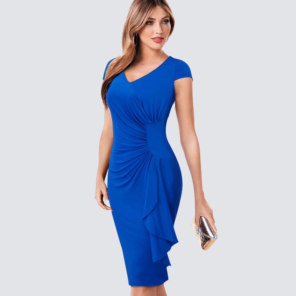 Summer Elegantne V Neck Ruched Draped Naiste vabaajatööbüroo Business Sheath varustatud Bodycon pliiatsiga kleit HB388