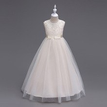 Children Bridesmaid Long Kid Evening Dress Girl Party Long Dresses Beige Navy Blue Grey White Formal Party Gown for Girls