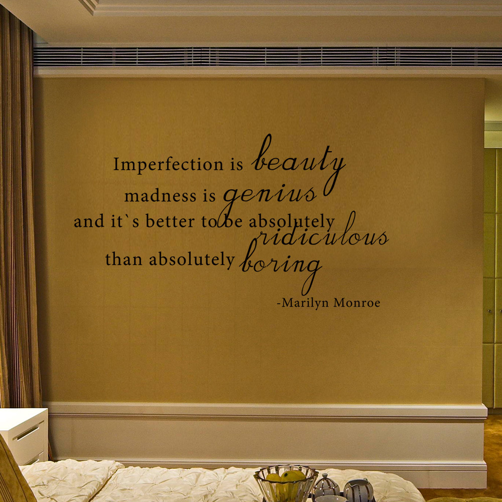 Imperfection is Beauty Marilyn Monroe Inspirational Quote Wall Decal ...