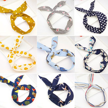 New hairdresses  Sweet and lovely wave-dot printing smiling face bow tie hairband changeable rabbit ears wire Hairband