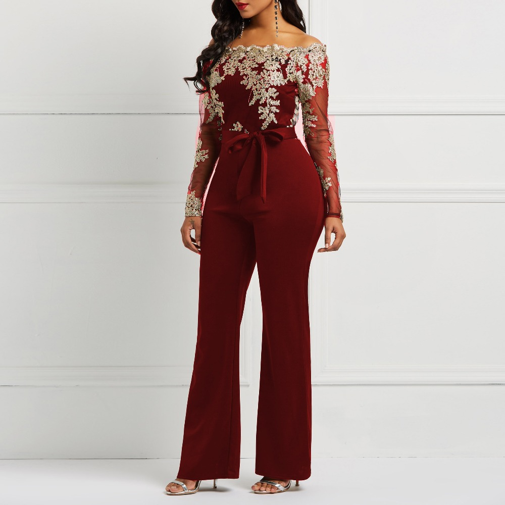 Clocolor Women Jumpsuit Luxury Lace Patchwork Mesh Transparent Off Shoulder Autumn Winter Long Sleeve Wide Legs Sexy Jumpsuit #5