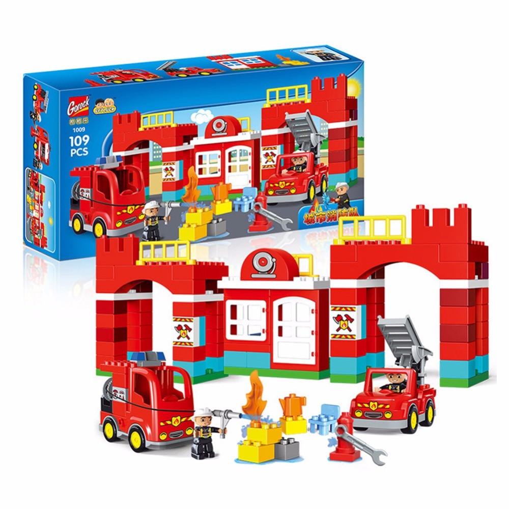 109PCS Diy city Building Blocks City Fire Station figure Truck Bricks Playmobil Toys for Children Compatible Legoingly Duplos 45