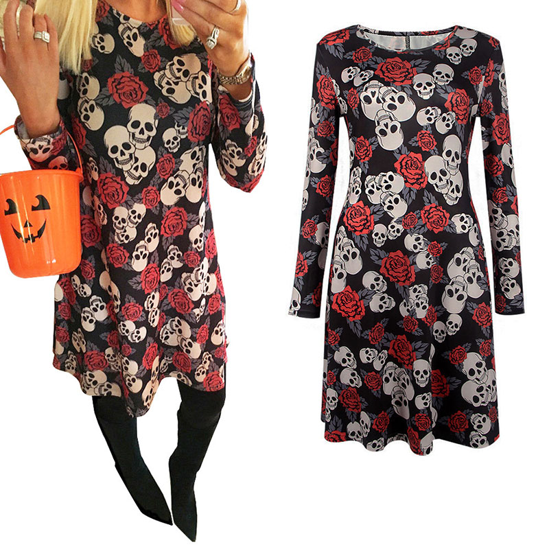 Adult Women Halloween Rose Skull Skeleton Print Costume Horror Long Sleeve Pullover Shirt Dress Female Scary Clothes For Ladies